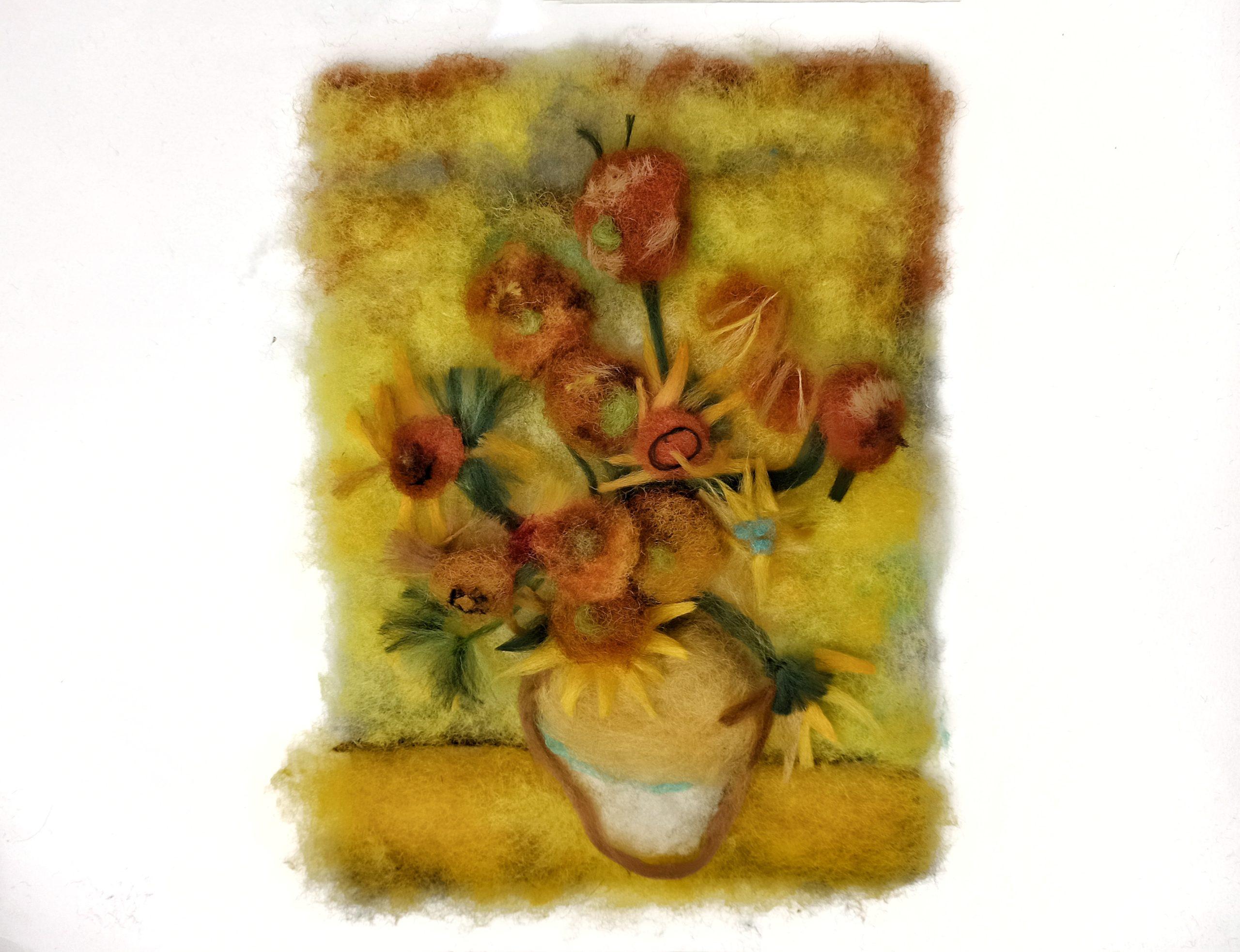 dipingere con la lana girasoli di Van Gogh