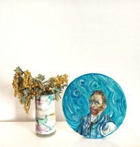 autoritratto di Van Gogh dipinto con la lana cardata di nearteneparte