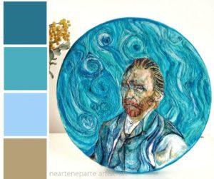 palette autorittratto van gogh azzurro dipinto con la lana cardata